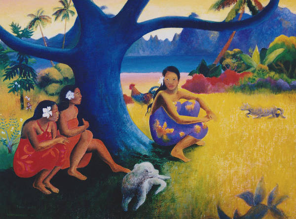 Cats And Dogs Painting - Gauguin's Cat--toru Potii by Eve Riser Roberts