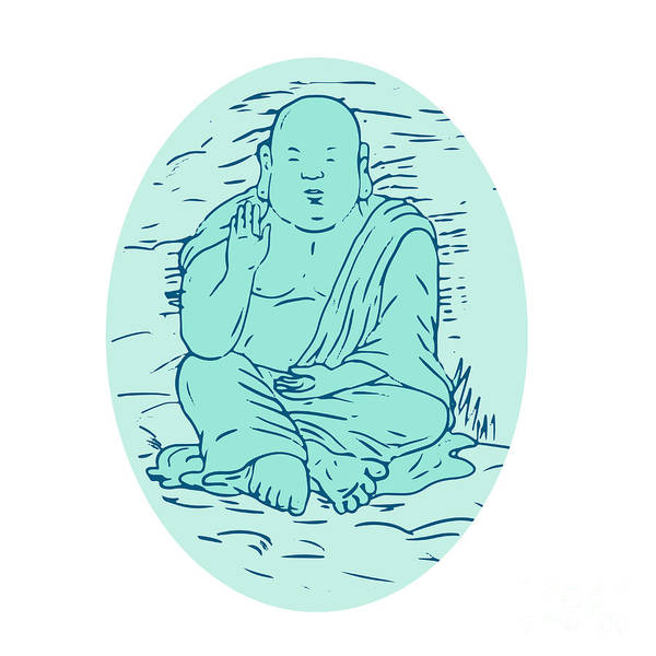 Gautama Digital Art - Gautama Buddha Lotus Pose Drawing by Aloysius Patrimonio