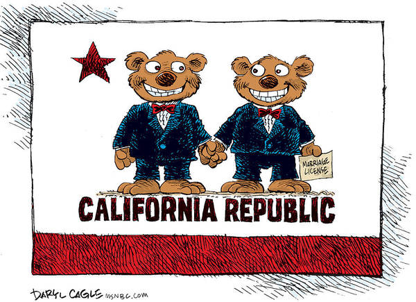 Drawing - Gay Marriage In California by Daryl Cagle
