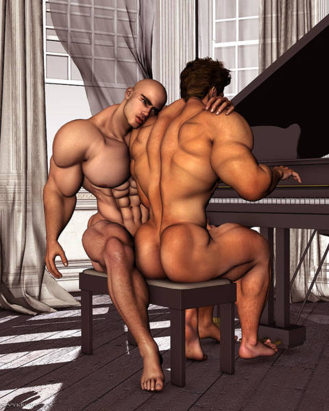 Bodybuilder Painting - Gay Pianist Piano Art Digital Painting Musician Music Print Naked Bodybuilder Nude Male by    Vykkurt