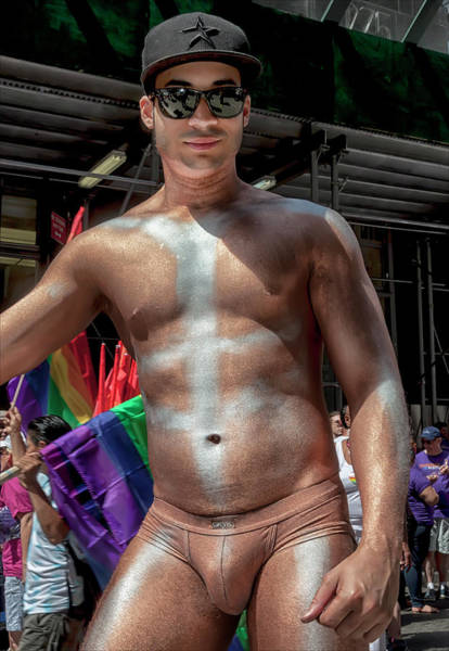 Bodypaint Wall Art - Photograph - Gay Pride Parade Nyc 2016 Gold Bodypaint by Robert Ullmann