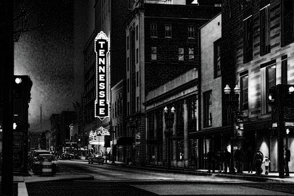 Photograph - Gay Street Night Scene Black And White by Sharon Popek