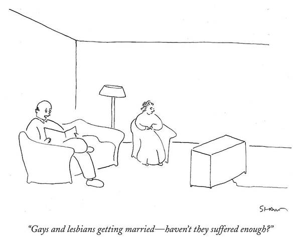 Gay Marriage Drawing - Gays And Lesbians Getting Married by Michael Shaw