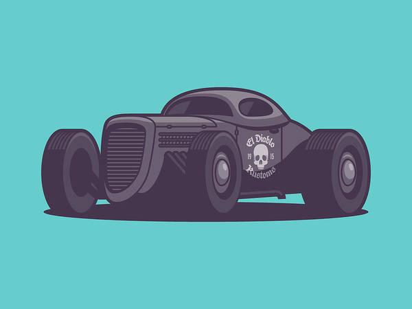 Wall Art - Digital Art - Gaz Gl1 Custom Vintage Hot Rod Classic Street Racer Car - Aqua by Ivan Krpan