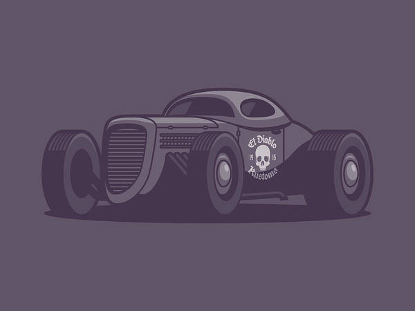 Classic Hot Rod Wall Art - Digital Art - Gaz Gl1 Custom Vintage Hot Rod Classic Street Racer Car - Black by Ivan Krpan