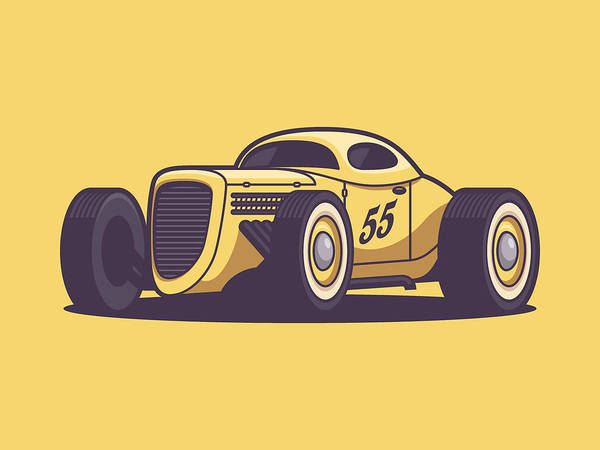 Wall Art - Digital Art - Gaz Gl1 Custom Vintage Hot Rod Classic Street Racer Car - Yellow by Ivan Krpan