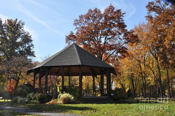 Gazebo At North Ridgeville - Autumn Art Print