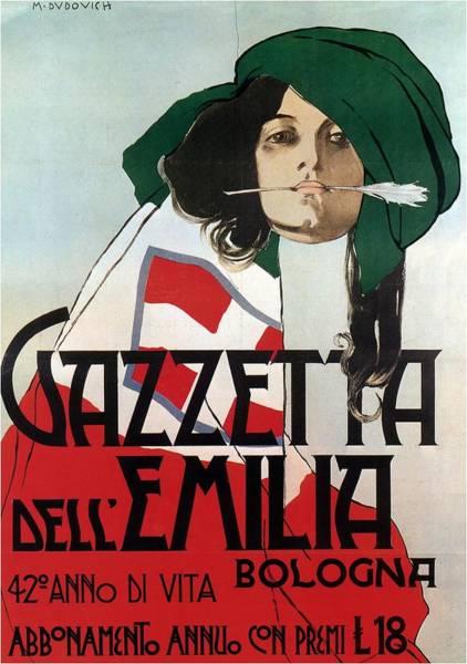 Art Nouveau Mixed Media - Gazzetta Dell'emilia - Magazine Cover - Vintage Advertising Poster by Studio Grafiikka