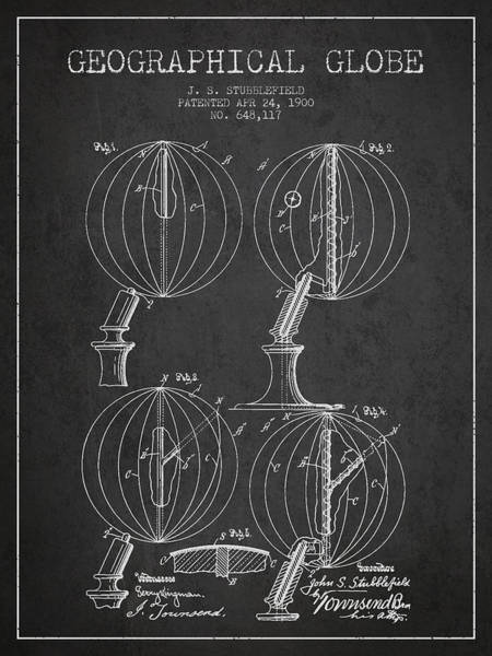 Science Education Digital Art - Geaographical Globe Patent From 1900 - Charcoal by Aged Pixel