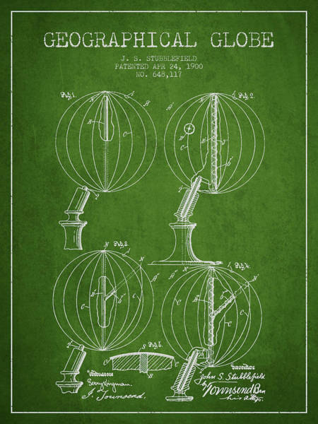 Science Education Digital Art - Geaographical Globe Patent From 1900 - Green by Aged Pixel