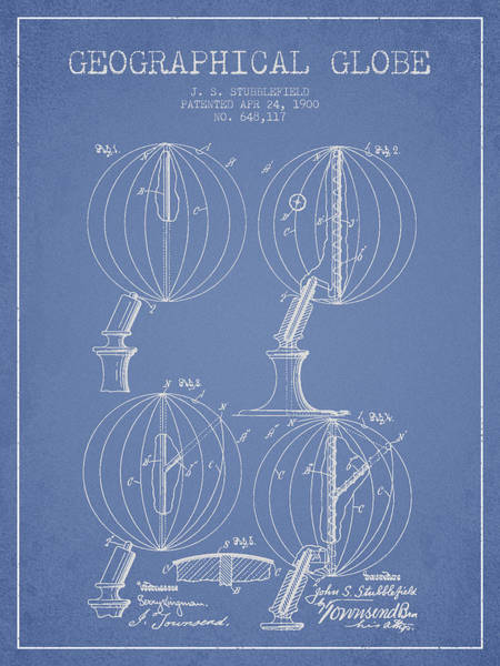 Science Education Digital Art - Geaographical Globe Patent From 1900 - Light Blue by Aged Pixel
