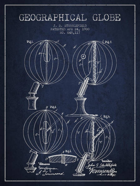 Science Education Digital Art - Geaographical Globe Patent From 1900 - Navy Blue by Aged Pixel