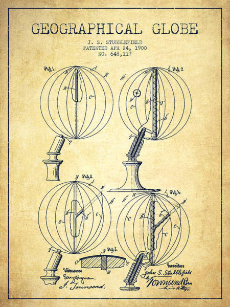 Science Education Digital Art - Geaographical Globe Patent From 1900 - Vintage by Aged Pixel