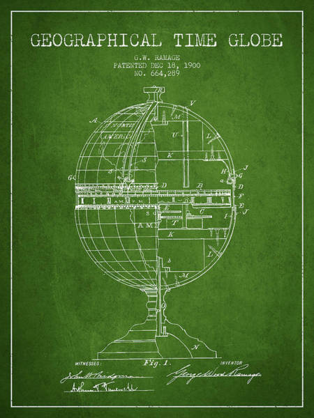 Science Education Digital Art - Geaographical Time Globe Patent From 1900 - Green by Aged Pixel