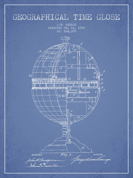 Science Education Digital Art - Geaographical Time Globe Patent From 1900 - Light Blue by Aged Pixel