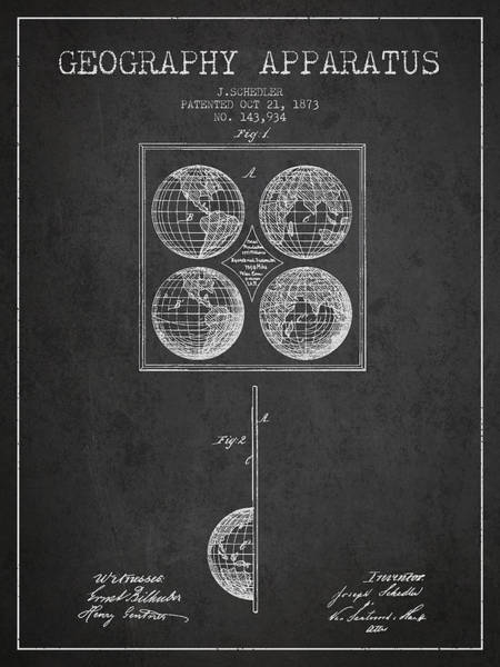 Science Education Digital Art - Geaography Apparatus Patent From 1873 - Charcoal by Aged Pixel