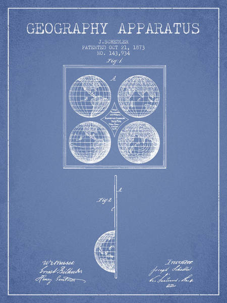 Science Education Digital Art - Geaography Apparatus Patent From 1873 - Light Blue by Aged Pixel
