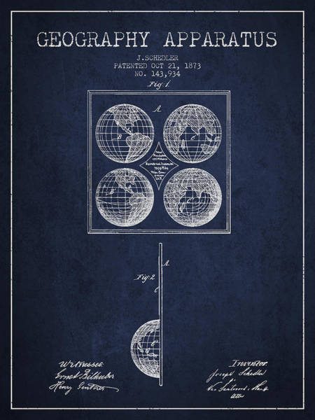 Science Education Digital Art - Geaography Apparatus Patent From 1873 - Navy Blue by Aged Pixel
