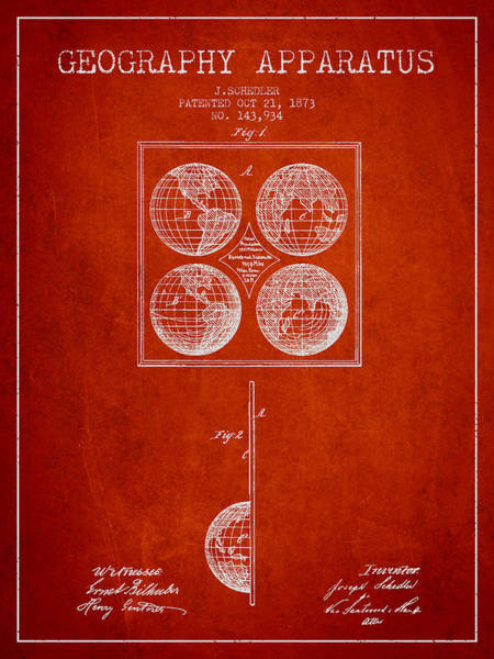 Science Education Digital Art - Geaography Apparatus Patent From 1873 - Red by Aged Pixel