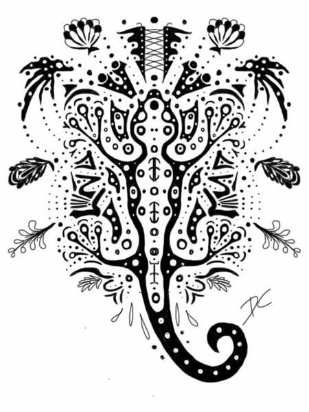Digital Art - Gecko Doodle by Darren Cannell