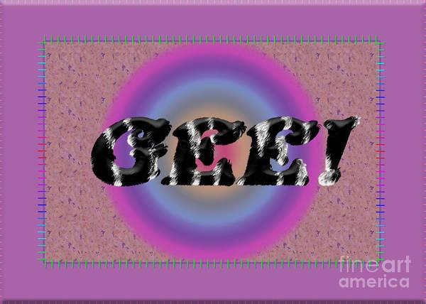 Digital Art - Gee 5 Zebra Letters by Donna L Munro