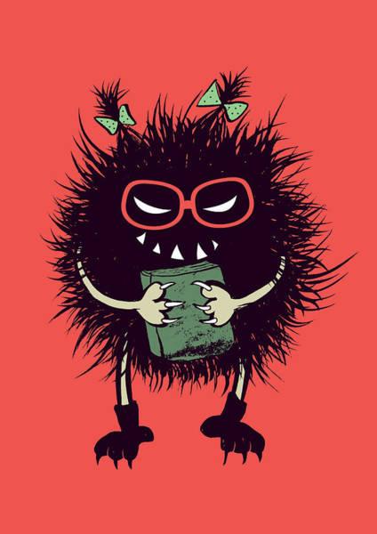 Reader Digital Art - Geek Evil Bug Character Loves Reading by Boriana Giormova