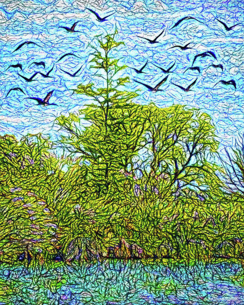 Digital Art - Geese Glide Over Still Pond by Joel Bruce Wallach