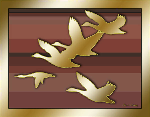 Bird In Flight Digital Art - Geese In Flight by Chuck Staley