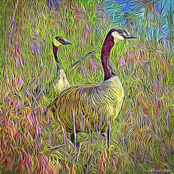 Digital Art - Geese Of The Blue Pond by Joel Bruce Wallach