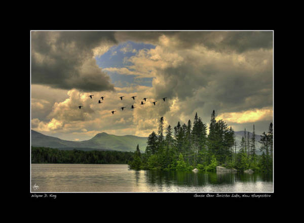 Photograph - Geese Over Jerhico Lake Poster by Wayne King