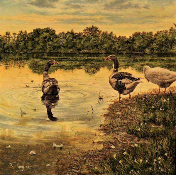 Wall Art - Painting - Geese by Roena King