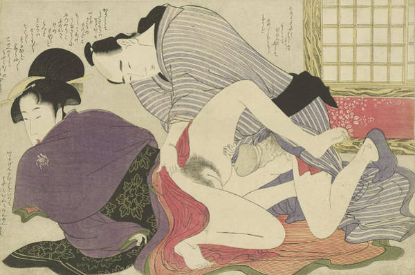 Having Sex Painting -  Geisha En Minnaar Bij Vrijstaand Kamerscherm by Kitagawa Utamaro