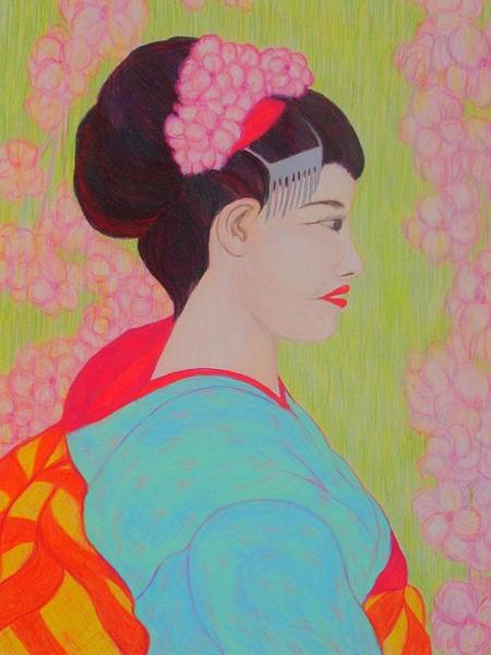Drawing - Geisha With Cherry Blossoms by Beth Akerman