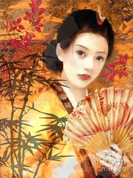 Wall Art - Painting - Geisha With Fan by Mo T