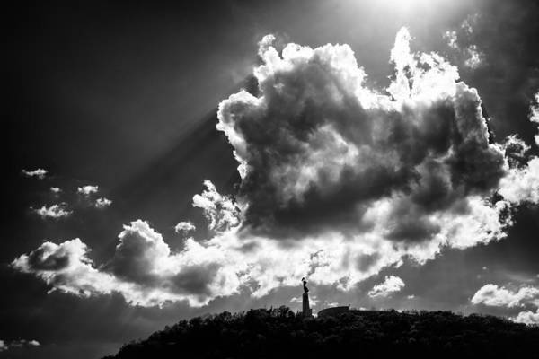 Photograph - Gellert Hill With Dramatic Cloud Budapest Black And White by Matthias Hauser