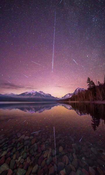 Photograph - Geminid Meteor Storm // December 13th, 2017 // Lake Mcdonald, Glacier National Park by Nicholas Parker