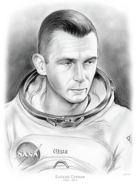 Professional Drawing - Astronaut Gene Cernan by Greg Joens