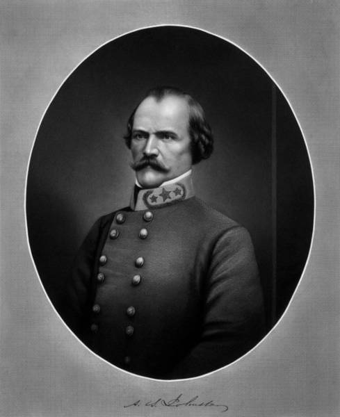 Civil War Drawing - General Albert Sidney Johnston by War Is Hell Store