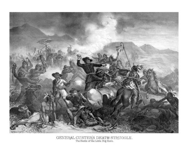 Wall Art - Drawing - General Custer's Death Struggle  by War Is Hell Store