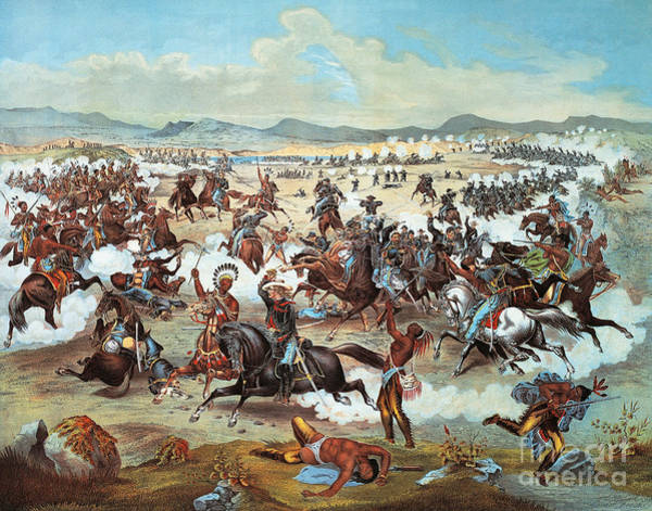 Wall Art - Painting - General Custer's Last Stand At Battle Of Little Bighorn, June 25, 1876 by Feodor Fuchs