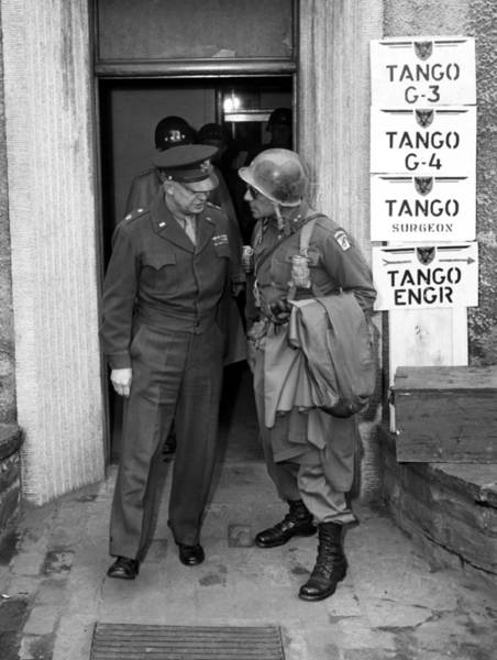 Wwii Photograph - General Eisenhower And General Ridgway  by War Is Hell Store