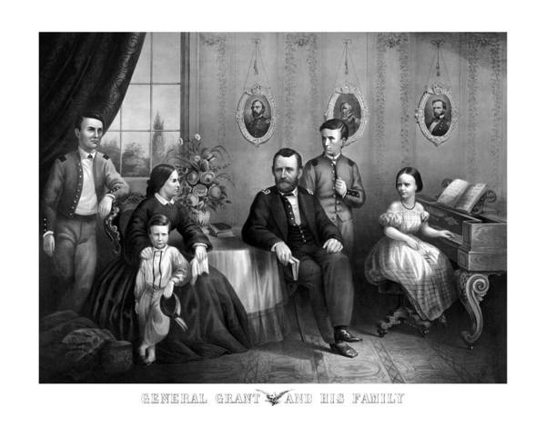 Us Civil War Wall Art - Mixed Media - General Grant And His Family by War Is Hell Store