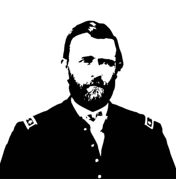 Us Civil War Wall Art - Digital Art - General Grant Black And White  by War Is Hell Store