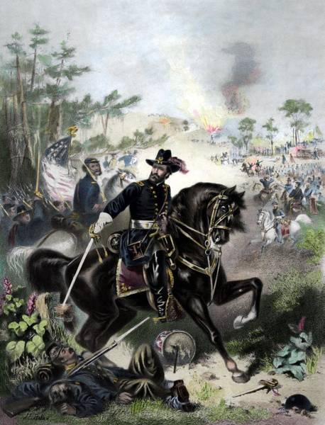 Civil War Wall Art - Painting - General Grant During Battle by War Is Hell Store