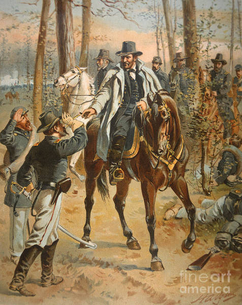 Wounded Soldier Painting - General Grant In The Wilderness Campaign 5th May 1864 by Henry Alexander Ogden