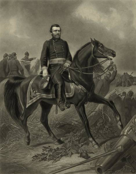Civil War Wall Art - Painting - General Grant On Horseback  by War Is Hell Store
