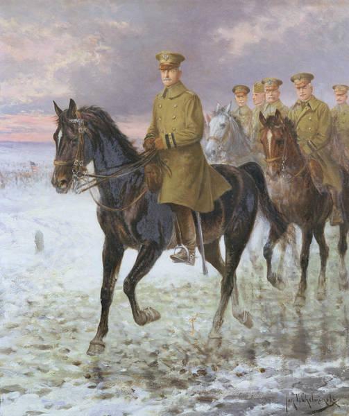 First Snow Wall Art - Painting - General John J Pershing  by Jan van Chelminski