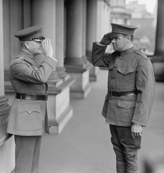 Babe Photograph - General John Pershing Saluting Babe Ruth by War Is Hell Store