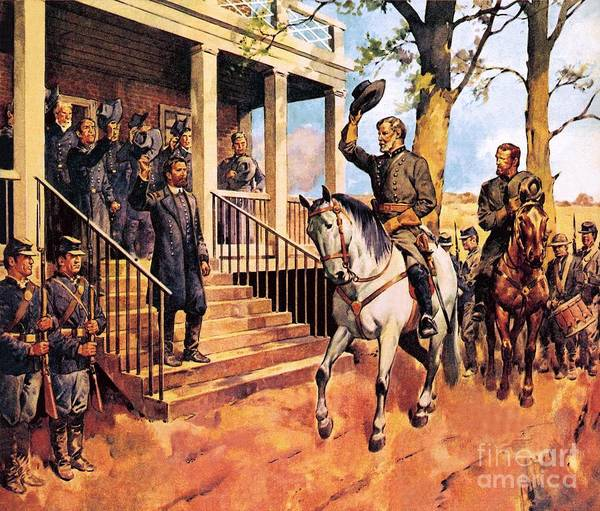 Surrendering Painting - General Lee And His Horse 'traveller' Surrenders To General Grant By Mcconnell by James Edwin