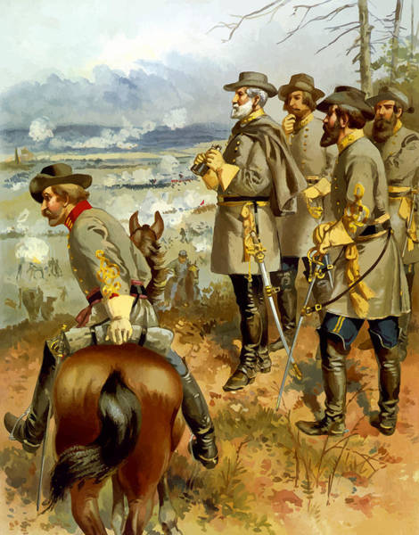 Civil War Wall Art - Painting - General Lee At The Battle Of Fredericksburg by War Is Hell Store